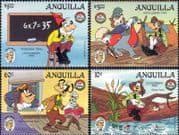 Anguilla 1985 Disney/ Mark Twain/ Goofy/ Mathematics/ Stories/ Cartoons/ Animation  4v set (b245n)