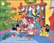 Antigua 1986 Disney/ Christmas/ Mickey/ Minnie/ Goofy/ Train/ Cartoons/ Animation 1v m/s (ad1082)