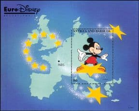 Antigua 1993 Euro Disney/ Cartoons/ Animation/ Mickey/ Map/ Stars 1v m/s (ad1018)