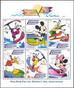 Antigua 1999 Disney/ Mickey Mouse 70th/ Donald Duck/ Minnie/ Water Skiing/ Surfing 6v sht (d00234a)