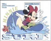 Antigua 1999 Disney/ Minnie Mouse/ Mickey 70th/ Surfing/ Sports/ Animation/ Cartoons 1v m/s (b1605w)