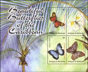 Antigua & Barbuda 2007  Butterflies/ Insects/ Nature/ Conservation  4v m/s  (s3781p)