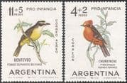 Argentina 1963 Flycatcher/ Kiskadee/ Birds/ Nature/ Wildlife/ Welfare Fund 2v set (n31660)