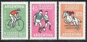 Argentina 1963 Sports  /  Football  /  Horse  /  Cycling 3v (b9835)