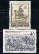 Argentina 1967 Horse  /  Animals  /  Battles  /  Art 2v set n27410