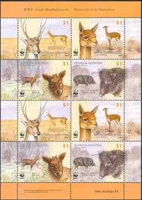 Argentina WWF Deer/ Peccary/ Pigs/ Wild Boar/ Vicuna/ Antelope/ Animals/ Nature/ Wildlife/ Conservation 8v sht (s1995)