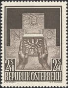 Austria 1956 UN  /  Admission to United Nations  /  Hands  /  Carving 1v (n37751)