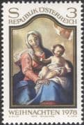 Austria 1978 Christmas/ Greetings/ Madonna/ Child/ Paintings/ Painters/ Art/ Artists 1v (at1034a)