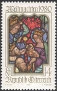 Austria 1980 Christmas/ Greetings/ Nativity/ Magi/ Stained Glass Window/ Art 1v (at1036a)