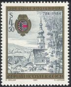 Austria 1984 Kostendorf/ Church/ Clock Tower/ Town Buildings/ History/ Heritage 1v (at1005a)