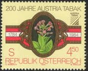 Austria 1984 Tobacco Industry/ Cigar Band/ Plants/ Commerce/ Business/ Nature 1v (at1004a)