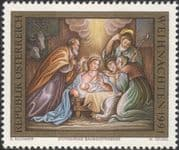 Austria 1991 Christmas/ Greetings/ Nativity/ Art/ Stable/ Donkey/ Cattle 1v (at1130a)