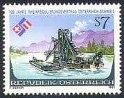 Austria 1992 River Rhine  /  Treaty  /  Boats  /  Dredger  /  Transport  /  Commerce 1v (n40782)
