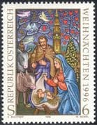 Austria 1996 Christmas/ Greetings/ Nativity/ Cattle/ Donkey/ Clock Tower 1v (n44313)