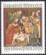Austria 2000 Christmas/ Greetings/ Nativity/ Cattle/ Donkey/ Animals 1v (n44400)