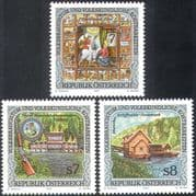 Austria 2001 Boat/ Shooting/ Rifle/ Embroidery/ Textiles/ Customs/ People 3v set (n38081)