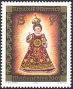 Austria 2001 Christmas/ Greetings/ Infant Jesus/ Statue/ Shrine/ Art 1v (n44457)