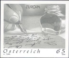 Austria 2008  Europa/ Letters/ Pen/ Writing/ Hand   SPECIAL BLACK ONLY IMPERFORATE  1v  (n44457e)