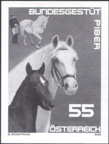 Austria 2008  Lipizzaner Stud Farm/ Horses/ Animals  SPECIAL BLACK ONLY IMPERFORATE  1v  (n44457f)