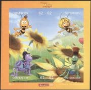 """Austria 2014 """"Maya the Bee""""/ Bees/ Insects/ Cartoons/ Comic Books/ Films/ Animation 4v s/a m/s (at1045)"""