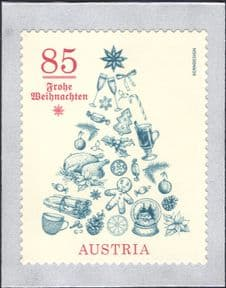 Austria 2020  Christmas/ Greetings/ Tree/ Ornaments/ Food/ Wine/ Star  1v s/a  (at1188a)