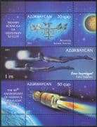 Azerbaijan 2011 Space Station/ ISS/ Vostok-1/ Space Flight 50th/ Gagarin/ Art/Painting 3v m/s (n44150)