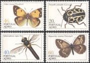 Azores 1985 Butterflies/ Beetles/ Flies/ Insects/ Nature/ Butterfly/ Conservation 4v set (b1783)
