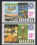 Bahamas 1971 Scouts  /  Jamboree  /  Scouting  /  Boats  /  Camp Fire 2v set (n36572)
