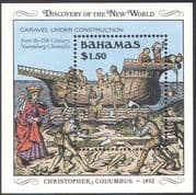 Bahamas 1989 Columbus/ Discovery of America 500th Anniversary/ Ships/ Exploration/ Explorers/ Transport 1v m/s (b9133)