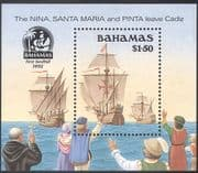 Bahamas 1990 Columbus/ Discovery of America 500th Anniversary/ Ships/ Exploration/ Explorers/ Transport 1v m/s (b9134)