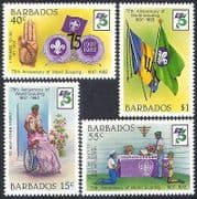 Barbados 1982 Scouts  /  Scouting  /  Flags  /  Badge  /  Disabled  /  Youth  /  Leisure 4v set (n40082)