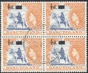Basutoland 1954 Horse/ Rider/ 1/2d on 2d surcharge o/p 4 x 1v blk VFU (n19707)