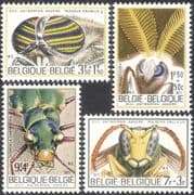 Belgium 1971 Paper Wasp/ Horse Fly/ Luna Moth/ Green Tiger Beetle/ Insects/ Beetles/ Moths/ Nature 4v set (n32284)