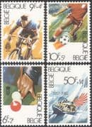 Belgium 1982 Sports/ Football/ Billiards/ Snooker/ Cycling/ Sailing/ Bikes/ Bicycle/ Soccer/ Boats 4v set (n43499)