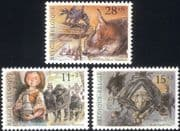 Belgium 1992 Folk Tales/ Stories/ Fox/ Witches/ Girl/ Books/ Animals/ Birds 3v set (be1001)