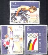 Belgium 2000 Olympics/ Sports/ Games/ Paralympics/ Wheelchair/ Taekwondo/ Martial Arts 3v set (n44435)