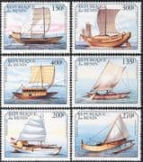 Benin 1999 Ships/ Boats/ Sailing/ Sail/ Canoes/ Nautical/ Transport 6v set (s168)