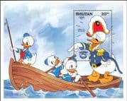 Bhutan 1984 Disney/ Donald Duck/ Sea Scouts/ Boat/ Cartoons/ Films/ Cinema/ Animation 1v m/s n26682a