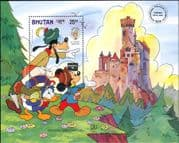 Bhutan 1986 Mark Twain/ Disney/ Mickey/ Goofy/ Donald/ Castle/ Cartoons/ StampEx 1v m/s (n26682b)