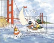 Bhutan 1991 Disney/ Mickey/ Sailing/ Boat/ Bridge/ Cartoons/ Animation 1v m/s (b4762s)