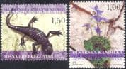 Bosnia 2004 Endangered Species/ Salamander/ Aquilegia/ Lizards/ Animals/ Flowers/ Nature/ Plants/ Conservation/ Environment 2v set (n44342)