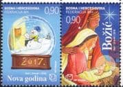 Bosnia Herzegovina 2016 Christmas/ New Year/ Greetings/ Nativity /Snowman 2v set pair (b2756e)