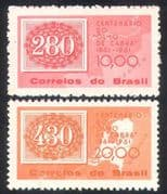 "Brazil 1961 ""Goat's Eyes"" Stamp  /  Stamp-on-Stamp  /  S-on-S  /  History  /  Maps 2v set n38922"