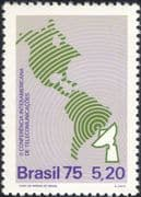 Brazil 1975 Telecommunications Conference/ Radio Dish Aerial/ Map 1v (n27987)