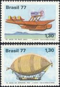 Brazil 1977 Plane/ Aircraft/ Airship/ Balloon/ Aviation/ Transport 2v set (n25309)