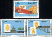 Brazil 1977  Planes/ Aircraft/ Aviation/ Trains/ Bridge/ Railway/ Ship/ Navy  3v set (n46316)