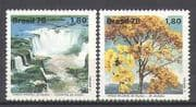 Brazil 1978 Waterfall  /  Trees  /    /  Rainbow  /  Plants  /  Nature  /  Environment 2v set (n25255)