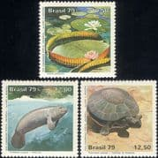 Brazil 1979 UPU/ Manatee/ Dugong/ Tortoise/ Lily/ Plants/ Animals/ Nature/ Wildlife 3v set (b203)