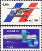 Brazil 1980 Graf Zeppelin/ Airship/ Plane/ Aircraft/ Seaplane/ Aviation/ Transport 2v set (n46313)