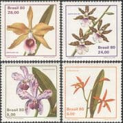 Brazil 1980 Orchids/ Flowers/ Plants/ Nature/ StampEx/ Orchid 4v set (n43522)
